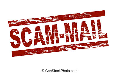 Stamp - scam-mail - Stylized red stamp showing the term...