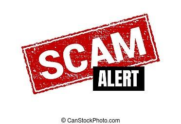 stamp., scam, signe, isolé, grunge, étiquette, carré rouge