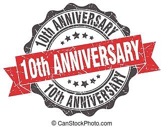 stamp., signe., 10ème, anniversaire, cachet