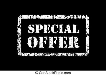 Stamp special offer in grunge style, illustration on black