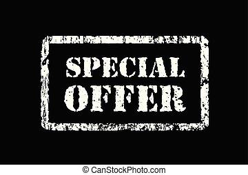 Stamp special offer in grunge style, vector illustration on black