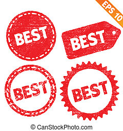 Stamp sticker Best tag collection - Vector illustration - EPS10
