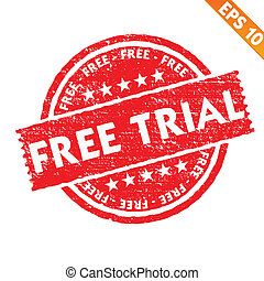 Stamp sticker Free trial collection - Vector illustration - ...