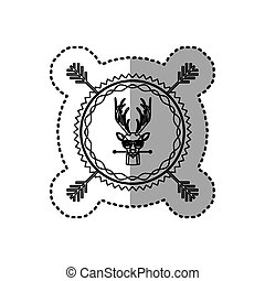 stamp sticker silhouette moose animal with accesories