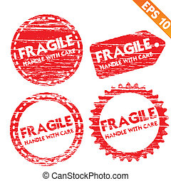 Stamp stitcker fragile tag collection  - Vector illustration - EPS10