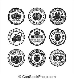 Stamp Strawberry healthy food design collection
