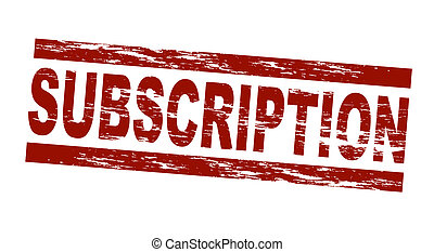 Stylized red stamp showing the term subscription. All on white background.