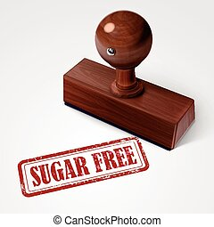 stamp sugar free in red text on white