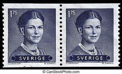 SWEDEN - CIRCA 1983: stamp printed by Sweden, shows Queen Silvia, circa 1983