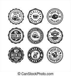 Stamp tea badge logos collection