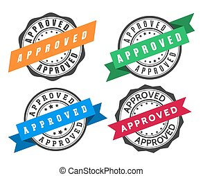 Stamp to approve with ribbon. Template set for high quality sealing, vector illustration of best stylish labels for certify deals isolated on white background