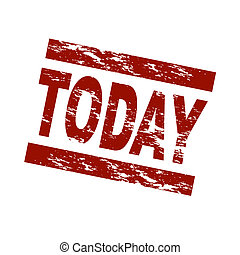 Stylized red stamp showing the term today. All on white background.