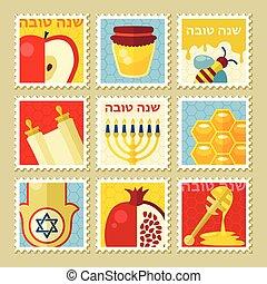 stamp., tova, shana, rosh hashanah