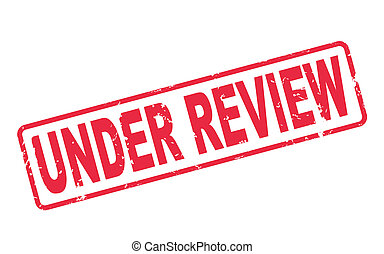 stamp under review with red text on white