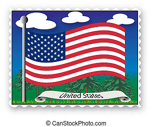 Stamp United States - Stamp with flag from United States