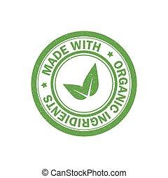 stamp., vecteur, nourriture, icon., ingrédients, végétarien, organique, grunge, fait, caoutchouc