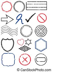 Stamp vector illustration set.