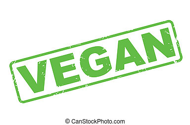 stamp vegan with green text on white
