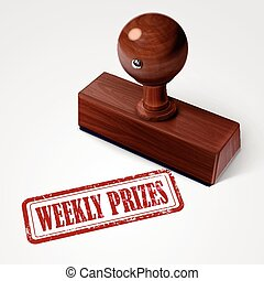 stamp weekly prizes in red