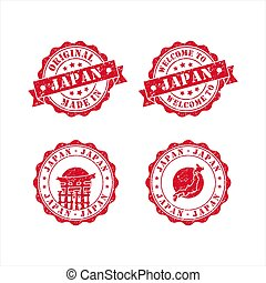 Stamp Welcome to japan vector design Collection