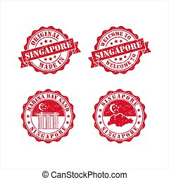Stamp Welcome to Singapore vector design Collection