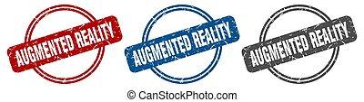 stamp., wirklichkeit, augmented, satz, zeichen., etikett