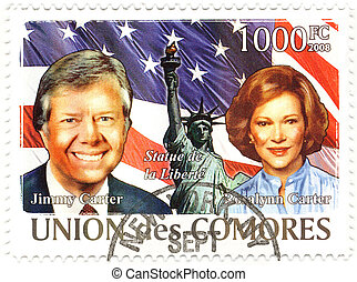stamp with 39th president of USA Jimmy Carter and his wife...