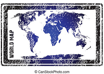 Stamp with blue world map