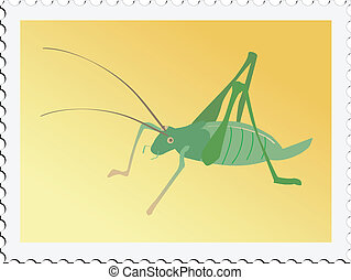 stamp with cricket - Illustration of stamp with cricket