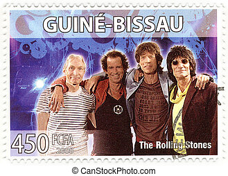 stamp with famous group The Rolling Stones