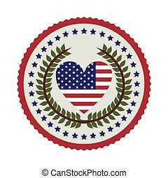 stamp with flag united states with heart shape and crown of leaves