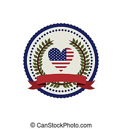stamp with flag united states with heart shape and crown of leaves with label