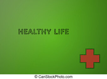 stamp with healthy life on green gradient background
