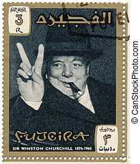 Stamp with image of sir winston churchil
