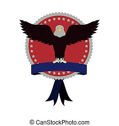 stamp with label and eagle with open wings vector...