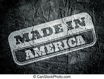 Stamp with made in America text over grunge background