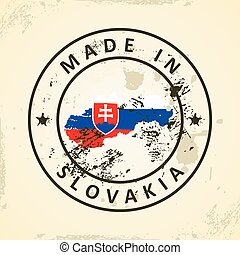 Stamp with map flag of Slovakia