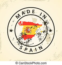 Stamp with map flag of Spain