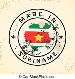 Stamp with map flag of Suriname