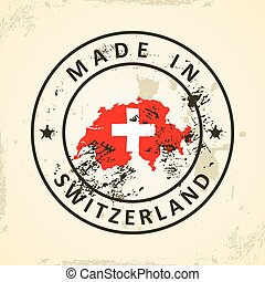 Stamp with map flag of Switzerland