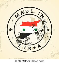 Stamp with map flag of Syria