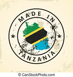 Stamp with map flag of Tanzania