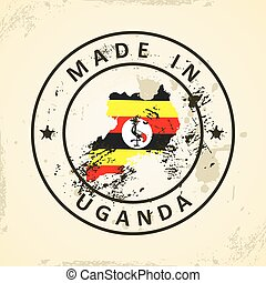 Stamp with map flag of Uganda
