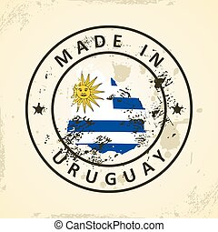 Stamp with map flag of Uruguay