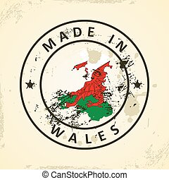 Stamp with map flag of Wales
