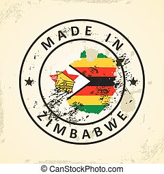 Stamp with map flag of Zimbabwe