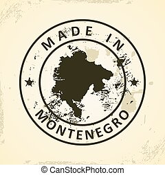Stamp with map of Montenegro