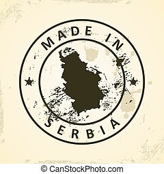 Stamp with map of Serbia