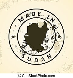 Stamp with map of Sudan