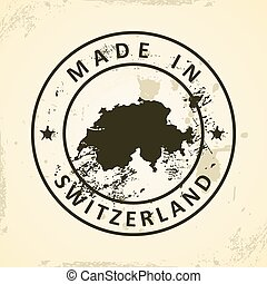 Stamp with map of Switzerland